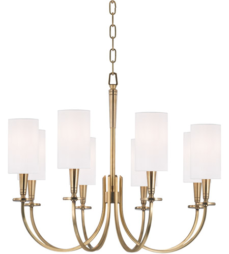 Hudson Valley 8028-AGB Mason 8 Light 27 inch Aged Brass Chandelier Ceiling Light photo