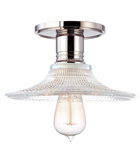 Hudson Valley Lighting Heirloom 1 Light Semi Flush in Polished Nickel with Ribbed Clear Glass Shade 8100-PN-GS6 photo