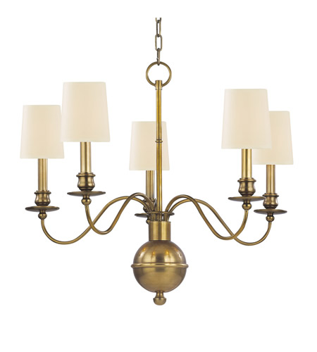 Hudson Valley 8215-AGB Cohasset 5 Light 26 inch Aged Brass Chandelier Ceiling Light photo