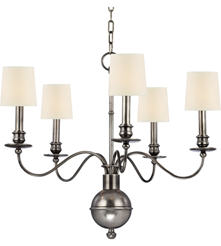 Hudson Valley 8215-AS Cohasset 5 Light 26 inch Aged Silver Chandelier Ceiling Light in Eco Paper photo