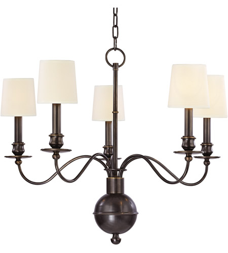 Hudson Valley 8215-OB Cohasset 5 Light 26 inch Old Bronze Chandelier Ceiling Light in Eco Paper photo
