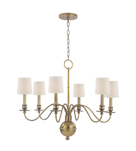 Hudson Valley Lighting Cohasset 6 Light Chandelier in Aged Brass with Eco Paper Shade 8216-AGB photo