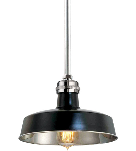 Hudson Valley 8610-BPN Hudson Falls 1 Light 10 inch Black and Polished Nickel Pendant Ceiling Light in Black Polished Nickel photo