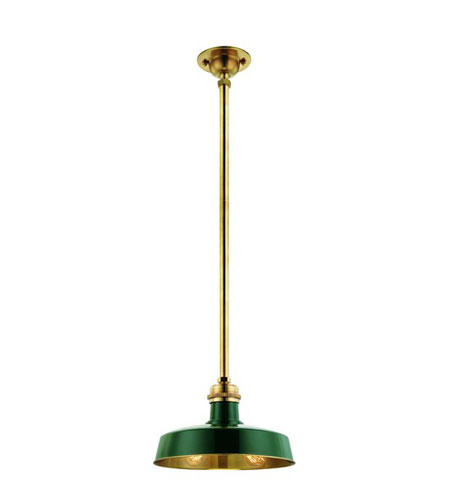 Hudson Valley 8610-GAGB Hudson Falls 1 Light 10 inch Green Aged Brass Pendant Ceiling Light photo