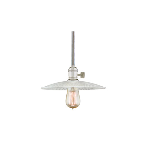 Hudson Valley Lighting Heirloom 1 Light Pendant in Polished Nickel with Ribbed Clear Glass Shade 9001-PN-GS4 photo