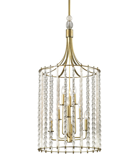 Hudson Valley 9322-AGB Whitestone 9 Light 21 inch Aged Brass Pendant Ceiling Light, Crystal Beads and Finials photo