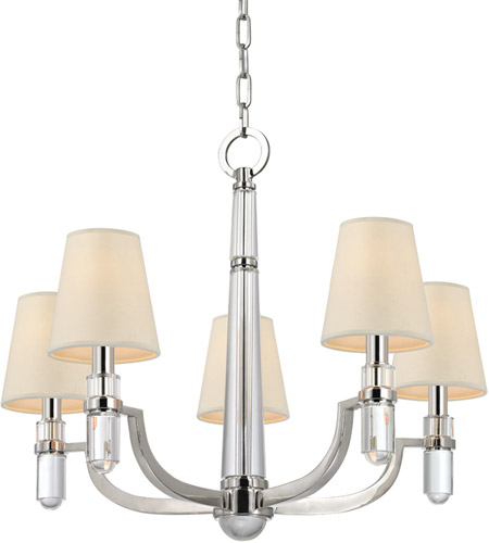 Hudson Valley 985-PN Dayton 5 Light 25 inch Polished Nickel Chandelier Ceiling Light in Eco Paper photo