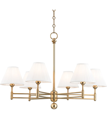 Hudson Valley MDS105-AGB Classic No. 1 6 Light 32 inch Aged Brass Chandelier Ceiling Light photo