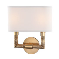 Hudson Valley 1022-AGB Dubois 2 Light 12 inch Aged Brass ADA Wall Sconce Wall Light, Off-White Linen