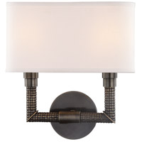 Hudson Valley 1022-DB Dubois 2 Light 12 inch Distressed Bronze ADA Wall Sconce Wall Light, Off-White Linen