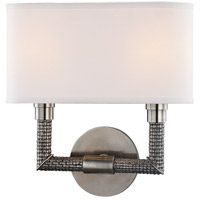 Hudson Valley 1022-HN Dubois 2 Light 12 inch Historic Nickel ADA Wall Sconce Wall Light, Off-White Linen