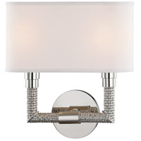 Hudson Valley 1022-PN Dubois 2 Light 12 inch Polished Nickel ADA Wall Sconce Wall Light, Off-White Linen