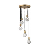 Marlow 5 Light 12 inch Aged Brass Chandelier Ceiling Light