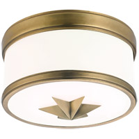 Seneca 1 Light 9 inch Aged Brass Flush Mount Ceiling Light