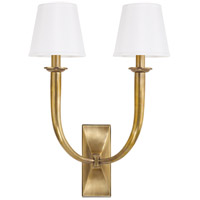 Vienna 2 Light 15 inch Aged Brass Wall Sconce Wall Light in White Faux Silk