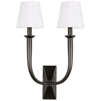 Hudson Valley 112-OB-WS Vienna 2 Light 15 inch Old Bronze Wall Sconce Wall Light in White Faux Silk