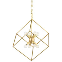 Roundout 8 Light 23 inch Aged Brass Pendant Ceiling Light
