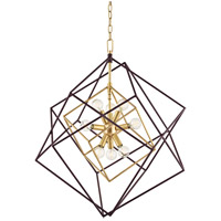 Roundout 9 Light 26 inch Aged Brass Pendant Ceiling Light