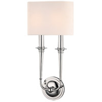 Lourdes 2 Light 10 inch Polished Nickel ADA Wall Sconce Wall Light, Off-White Linen