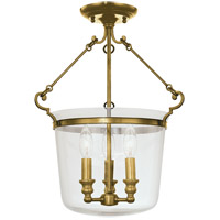 Quinton 3 Light 14 inch Aged Brass Semi Flush Ceiling Light