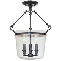 Hudson Valley 130-OB Quinton 3 Light 14 inch Old Bronze Semi Flush Ceiling Light