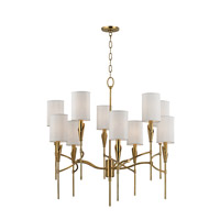 Tate 10 Light 32 inch Aged Brass Chandelier Ceiling Light