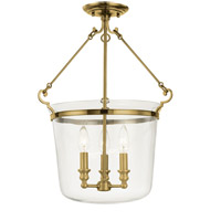 Quinton 3 Light 16 inch Aged Brass Semi Flush Ceiling Light