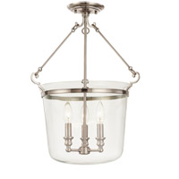 Hudson Valley Lighting Quinton 3 Light Semi Flush in Historic Nickel 132-HN