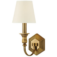 Hudson Valley 1411-AGB-WS Charlotte 1 Light 5 inch Aged Brass Wall Sconce Wall Light in White Faux Silk