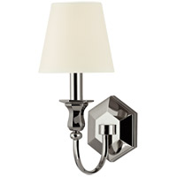 Hudson Valley Lighting Charlotte 1 Light Wall Sconce in Polished Nickel with White Faux Silk Shade 1411-PN-WS