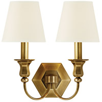 Charlotte 2 Light 13 inch Aged Brass Wall Sconce Wall Light in White Faux Silk