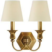 Hudson Valley Lighting Charlotte 2 Light Wall Sconce in Aged Brass with Eco Paper Shade 1412-AGB