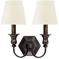 Hudson Valley 1412-OB-WS Charlotte 2 Light 13 inch Old Bronze Wall Sconce Wall Light in White Faux Silk