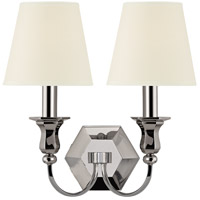 Hudson Valley Lighting Charlotte 2 Light Wall Sconce in Polished Nickel with White Faux Silk Shade 1412-PN-WS