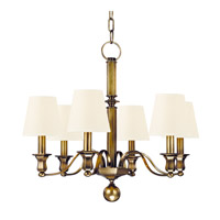 Hudson Valley 1416-AGB-WS Charlotte 6 Light 27 inch Aged Brass Chandelier Ceiling Light