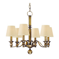 Hudson Valley 1416-AGB Charlotte 6 Light 27 inch Aged Brass Chandelier Ceiling Light in Eco Paper