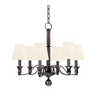Hudson Valley 1416-OB-WS Charlotte 6 Light 27 inch Old Bronze Chandelier Ceiling Light in White Faux Silk