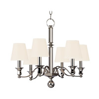 Hudson Valley 1416-PN-WS Charlotte 6 Light 27 inch Polished Nickel Chandelier Ceiling Light in White Faux Silk