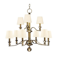 Hudson Valley 1419-AGB-WS Charlotte 9 Light 34 inch Aged Brass Chandelier Ceiling Light