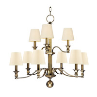 Hudson Valley 1419-AGB Charlotte 9 Light 34 inch Aged Brass Chandelier Ceiling Light in Eco Paper