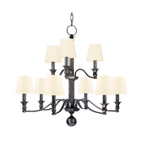 Hudson Valley 1419-OB-WS Charlotte 9 Light 34 inch Old Bronze Chandelier Ceiling Light in White Faux Silk