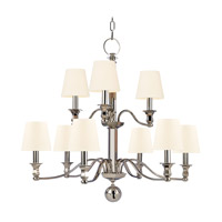 Hudson Valley 1419-PN-WS Charlotte 9 Light 34 inch Polished Nickel Chandelier Ceiling Light in White Faux Silk