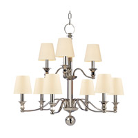 Hudson Valley 1419-PN Charlotte 9 Light 34 inch Polished Nickel Chandelier Ceiling Light in Eco Paper