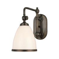 Hudson Valley 1428-OB Somerset 1 Light 7 inch Old Bronze Wall Sconce Wall Light in Opal Glossy Glass photo thumbnail