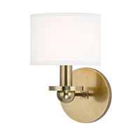 Hudson Valley Lighting Kirkwood 1 Light Wall Sconce in Aged Brass with White Faux Silk Shade 1511-AGB-WS