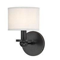 Hudson Valley Lighting Kirkwood 1 Light Wall Sconce in Old Bronze with White Faux Silk Shade 1511-OB-WS