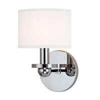 Kirkwood 1 Light 6 inch Polished Chrome Wall Sconce Wall Light in White Faux Silk