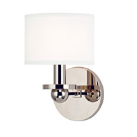 Hudson Valley Lighting Kirkwood 1 Light Wall Sconce in Polished Nickel with White Faux Silk Shade 1511-PN-WS