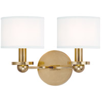 Kirkwood 2 Light 13 inch Aged Brass Wall Sconce Wall Light in White Faux Silk
