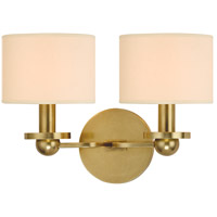 Hudson Valley Lighting Kirkwood 2 Light Wall Sconce in Aged Brass with Eco Paper Shade 1512-AGB